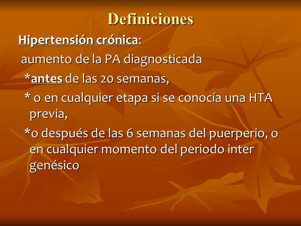 Definiciones Hipertensión crónica: aumento de la PA diagnosticada aumento de la PA diagnosticada *antes de las 20 semanas, *antes de las 20 semanas, *