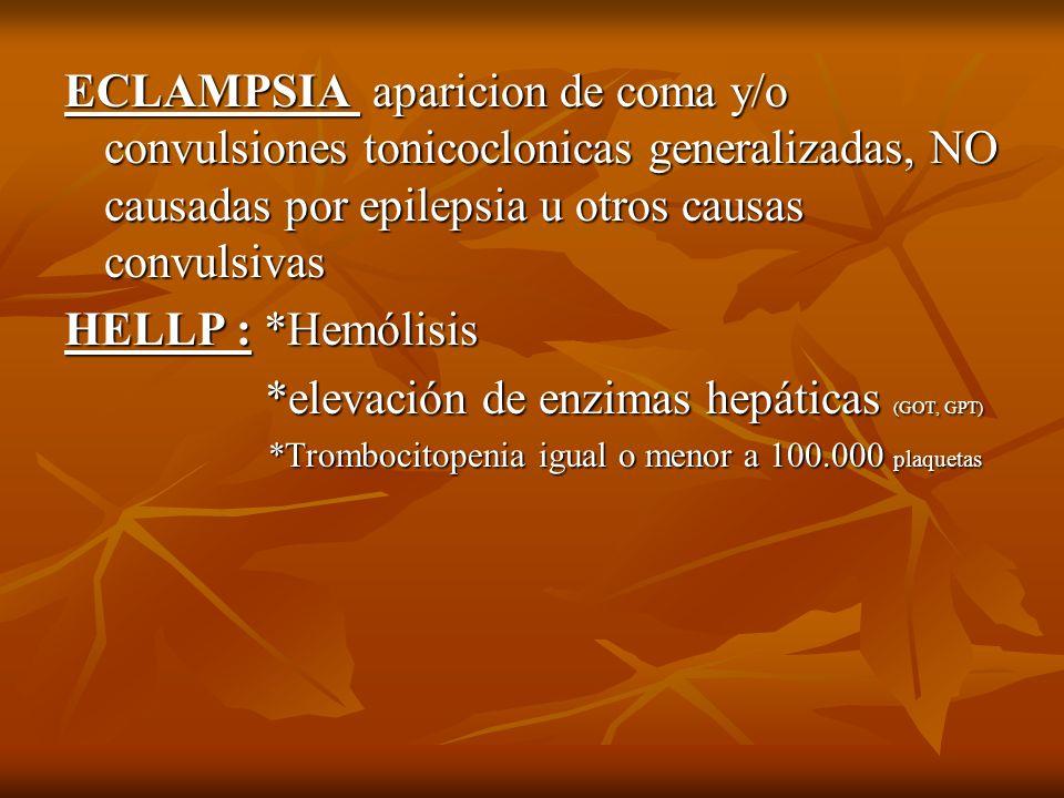 ECLAMPSIA aparicion de coma y/o convulsiones tonicoclonicas generalizadas, NO causadas por epilepsia u otros causas convulsivas HELLP : *Hemólisis *el