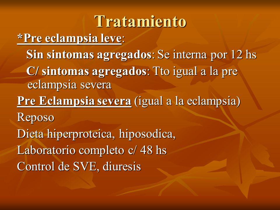 ECLAMPSIA * DIAZEPAM 10 mgrs 1 amp ev si fuese necesario * Proteger la vía aérea * Hp c/ SG 5% o Ringer * O2 * Sondaje vesical * MgSO4 * Vigilancia materna y fetal * Maduración pulmonar si es necesario * Si es de 32 semanas o mas: una vez estabilizada la pte interrumpir * Si es de menor de 24 semanas se procura llegar a las 32 semanas, si las condiciones están dadas * En el Sx de HELLPS transfundir plaquetas