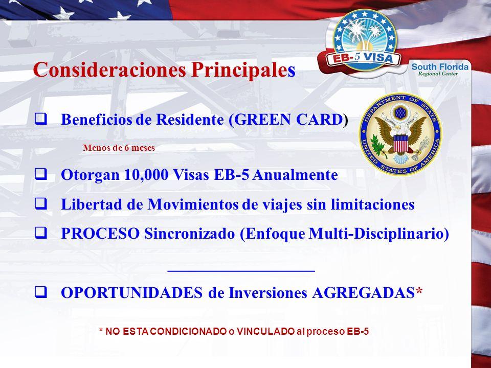 Beneficios de Residente (GREEN CARD) Menos de 6 meses Otorgan 10,000 Visas EB-5 Anualmente Libertad de Movimientos de viajes sin limitaciones PROCESO