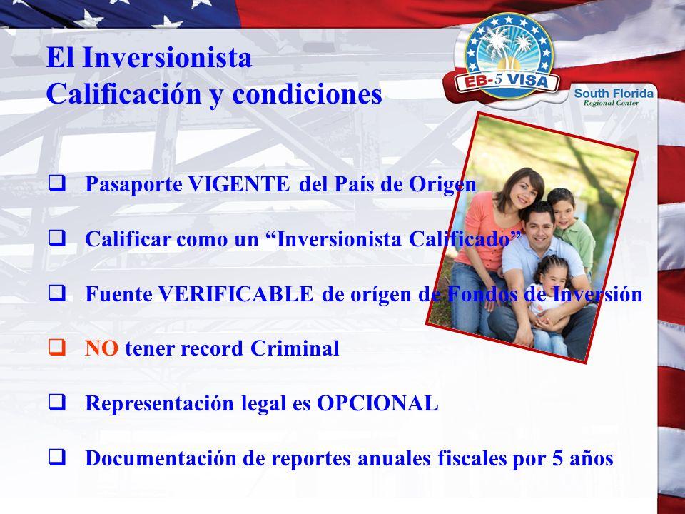 Pasaporte VIGENTE del País de Origen Calificar como un Inversionista Calificado Fuente VERIFICABLE de orígen de Fondos de Inversión NO tener record Cr