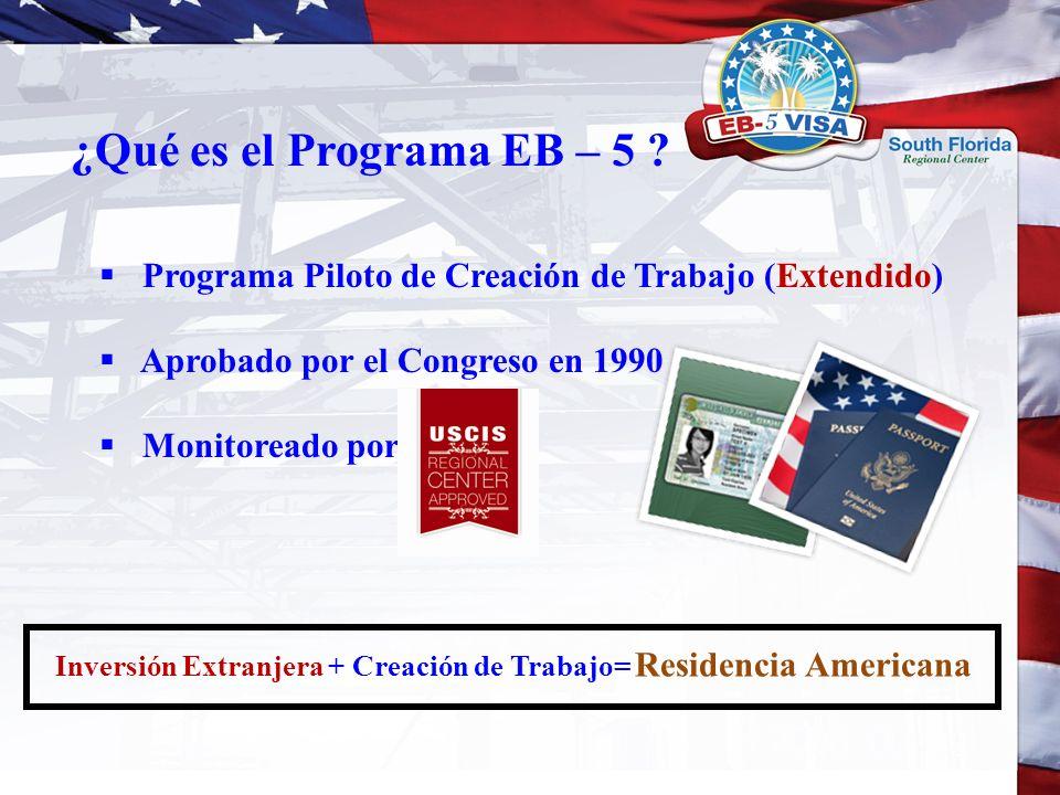 Programa Piloto de Creación de Trabajo (Extendido) Aprobado por el Congreso en 1990 Monitoreado por ¿Qué es el Programa EB – 5 ? Inversión Extranjera