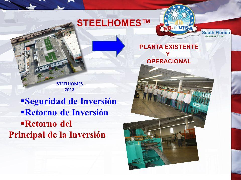 STEELHOMES 2013 Seguridad de Inversión Retorno de Inversión Retorno del Principal de la Inversión STEELHOMES PLANTA EXISTENTE Y OPERACIONAL