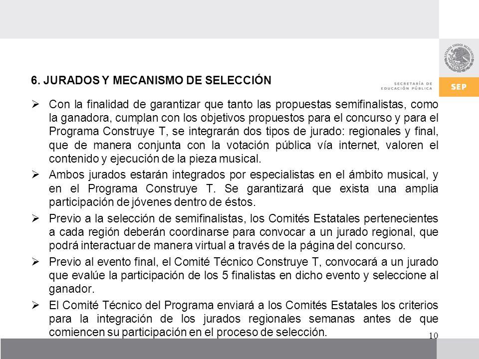 6. JURADOS Y MECANISMO DE SELECCIÓN Con la finalidad de garantizar que tanto las propuestas semifinalistas, como la ganadora, cumplan con los objetivo