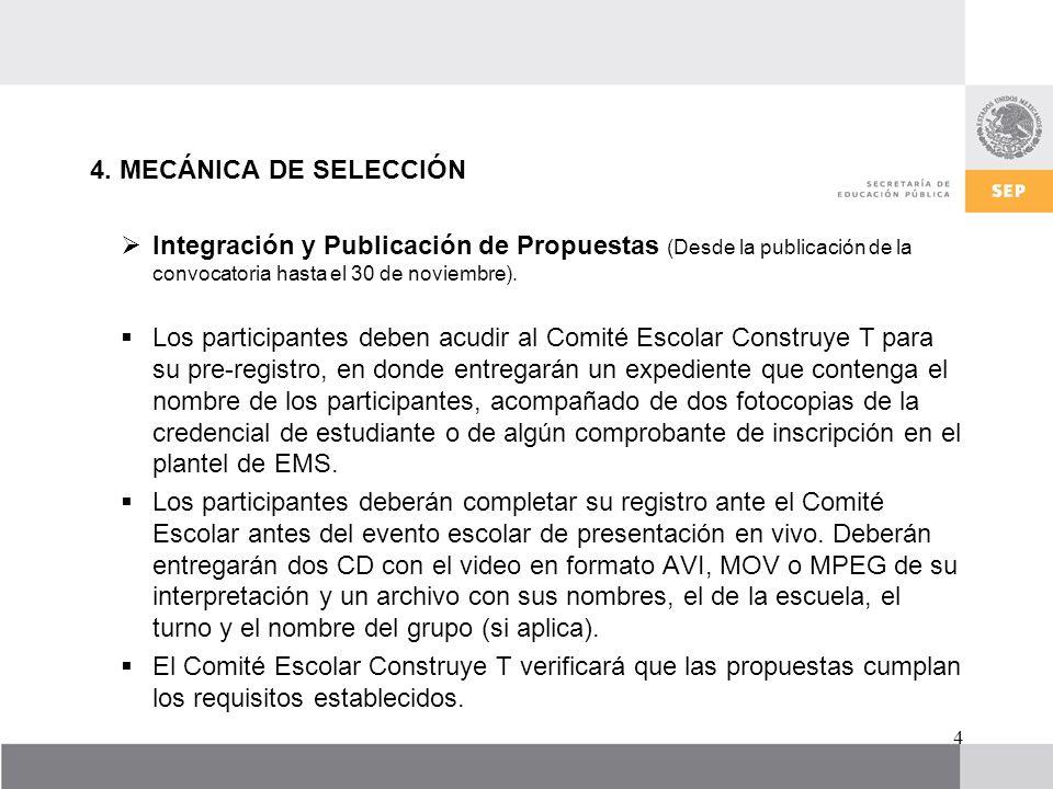 4. MECÁNICA DE SELECCIÓN Integración y Publicación de Propuestas (Desde la publicación de la convocatoria hasta el 30 de noviembre). Los participantes