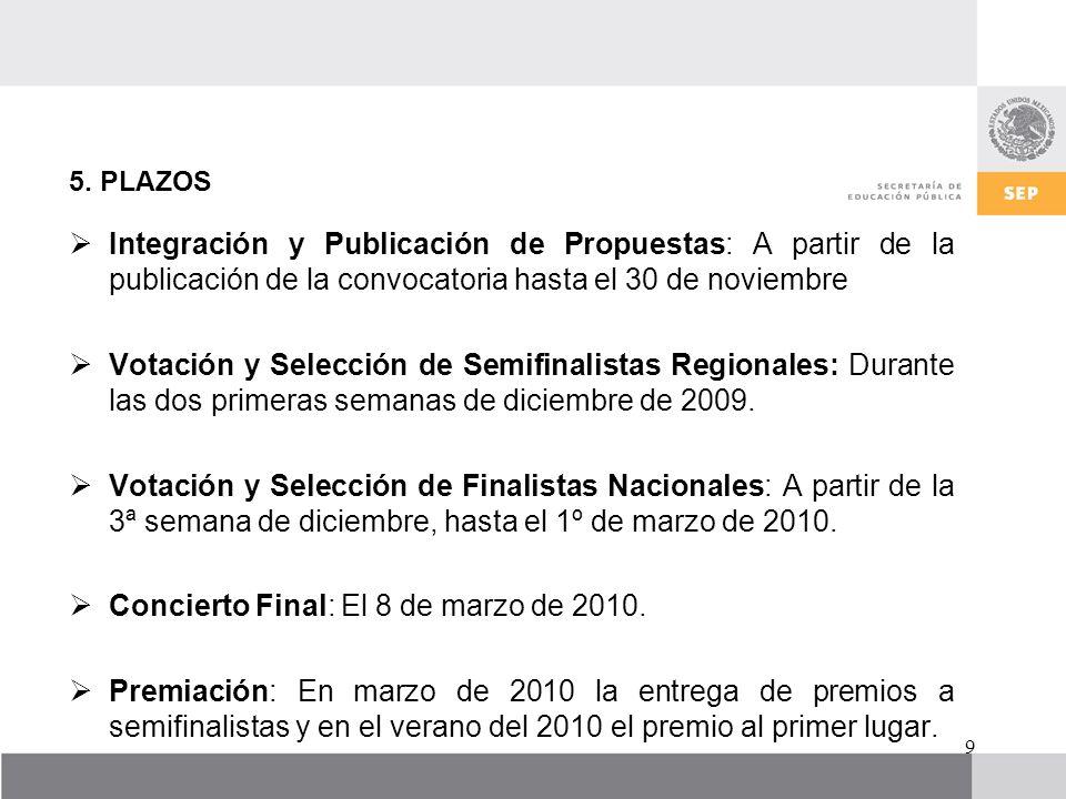 5. PLAZOS Integración y Publicación de Propuestas: A partir de la publicación de la convocatoria hasta el 30 de noviembre Votación y Selección de Semi