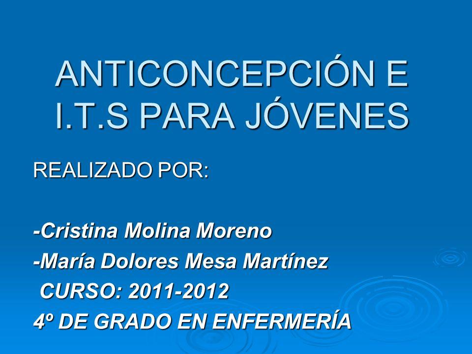 ANTICONCEPCIÓN E I.T.S PARA JÓVENES REALIZADO POR: -Cristina Molina Moreno -María Dolores Mesa Martínez CURSO: 2011-2012 CURSO: 2011-2012 4º DE GRADO