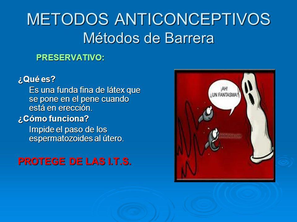METODOS ANTICONCEPTIVOS Métodos de Barrera PRESERVATIVO: PRESERVATIVO: ¿Qué es? Es una funda fina de látex que se pone en el pene cuando está en erecc