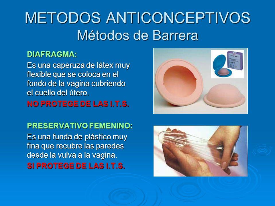 METODOS ANTICONCEPTIVOS Métodos de Barrera DIAFRAGMA: Es una caperuza de látex muy flexible que se coloca en el fondo de la vagina cubriendo el cuello