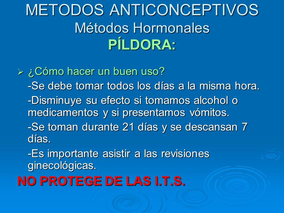 METODOS ANTICONCEPTIVOS Métodos Hormonales PÍLDORA: ¿Cómo hacer un buen uso? ¿Cómo hacer un buen uso? -Se debe tomar todos los días a la misma hora. -