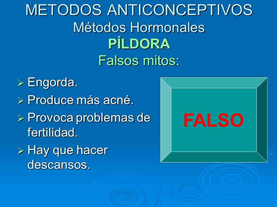 METODOS ANTICONCEPTIVOS Métodos Hormonales PÍLDORA Falsos mitos: Engorda. Engorda. Produce más acné. Produce más acné. Provoca problemas de fertilidad