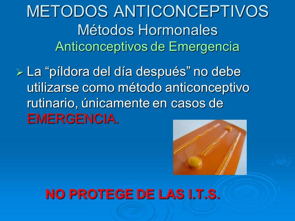 METODOS ANTICONCEPTIVOS Métodos Hormonales Anticonceptivos de Emergencia La píldora del día después no debe utilizarse como método anticonceptivo ruti