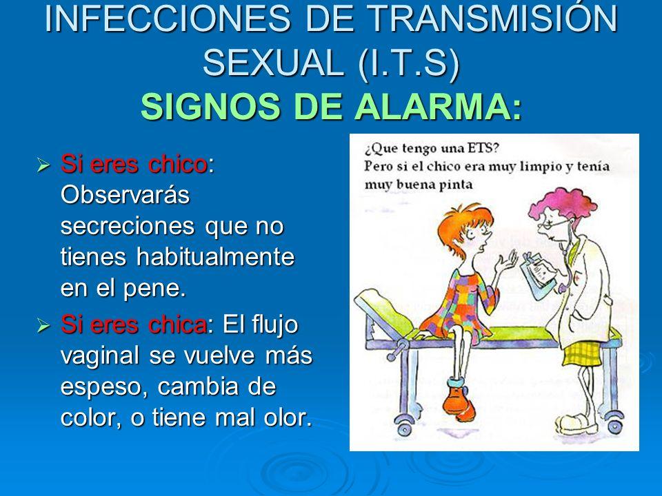 INFECCIONES DE TRANSMISIÓN SEXUAL (I.T.S) SIGNOS DE ALARMA: Si eres chico: Observarás secreciones que no tienes habitualmente en el pene. Si eres chic