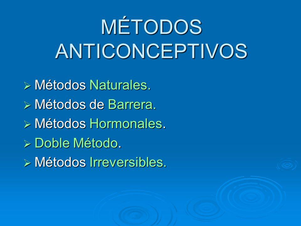 MÉTODOS ANTICONCEPTIVOS Métodos Naturales. Métodos Naturales. Métodos de Barrera. Métodos de Barrera. Métodos Hormonales. Métodos Hormonales. Doble Mé