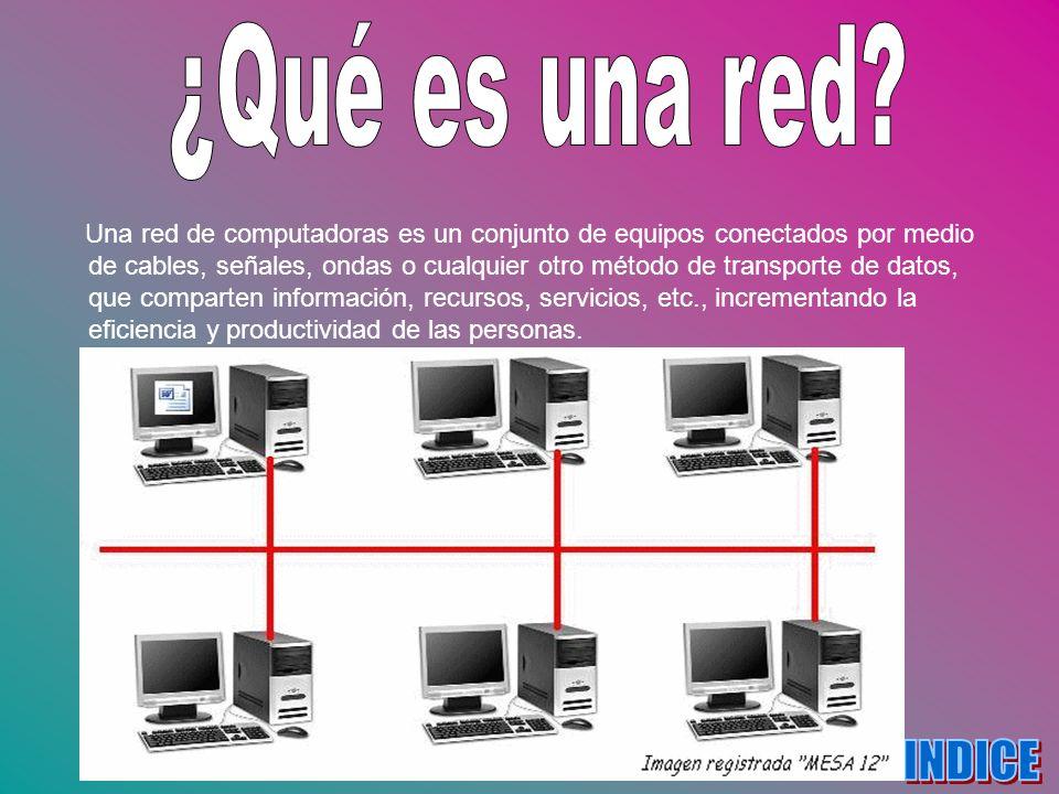 Una red de computadoras es un conjunto de equipos conectados por medio de cables, señales, ondas o cualquier otro método de transporte de datos, que c