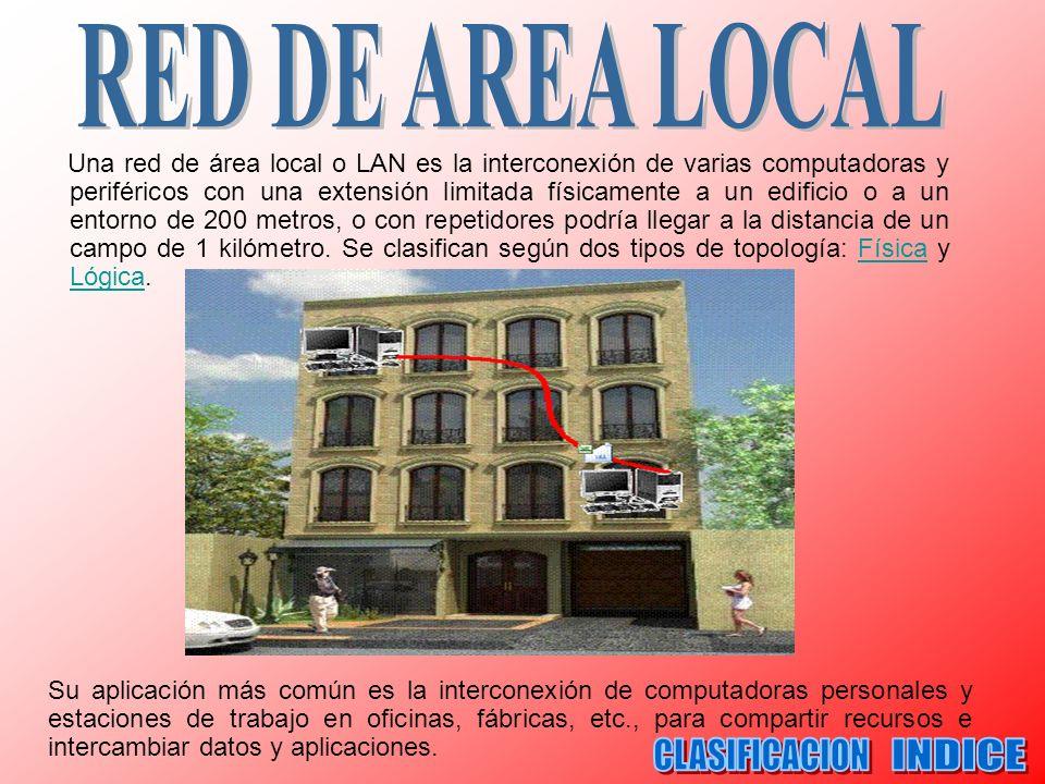 Una red de área local o LAN es la interconexión de varias computadoras y periféricos con una extensión limitada físicamente a un edificio o a un entor