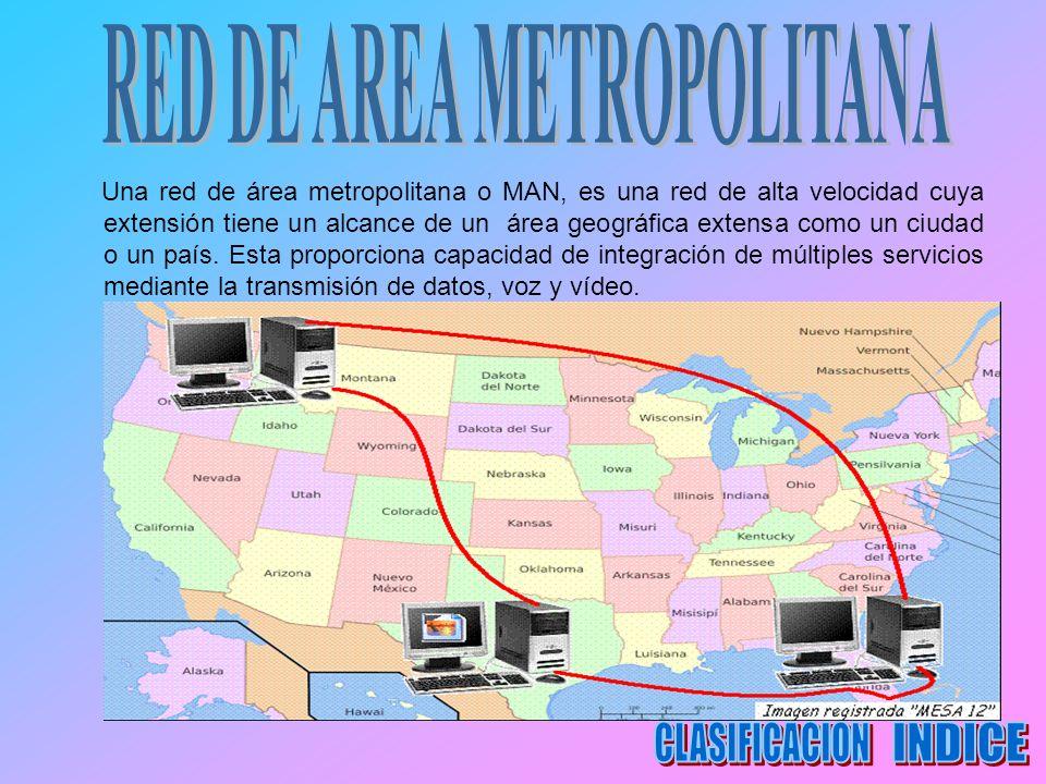 Una red de área metropolitana o MAN, es una red de alta velocidad cuya extensión tiene un alcance de un área geográfica extensa como un ciudad o un pa