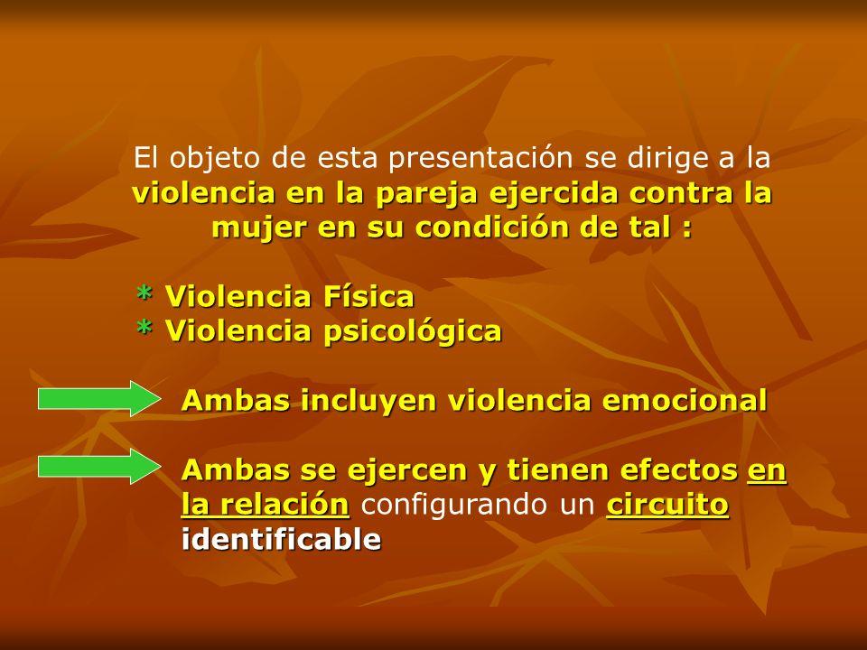 violencia en la pareja ejercida contra la mujer en su condición de tal : El objeto de esta presentación se dirige a la violencia en la pareja ejercida
