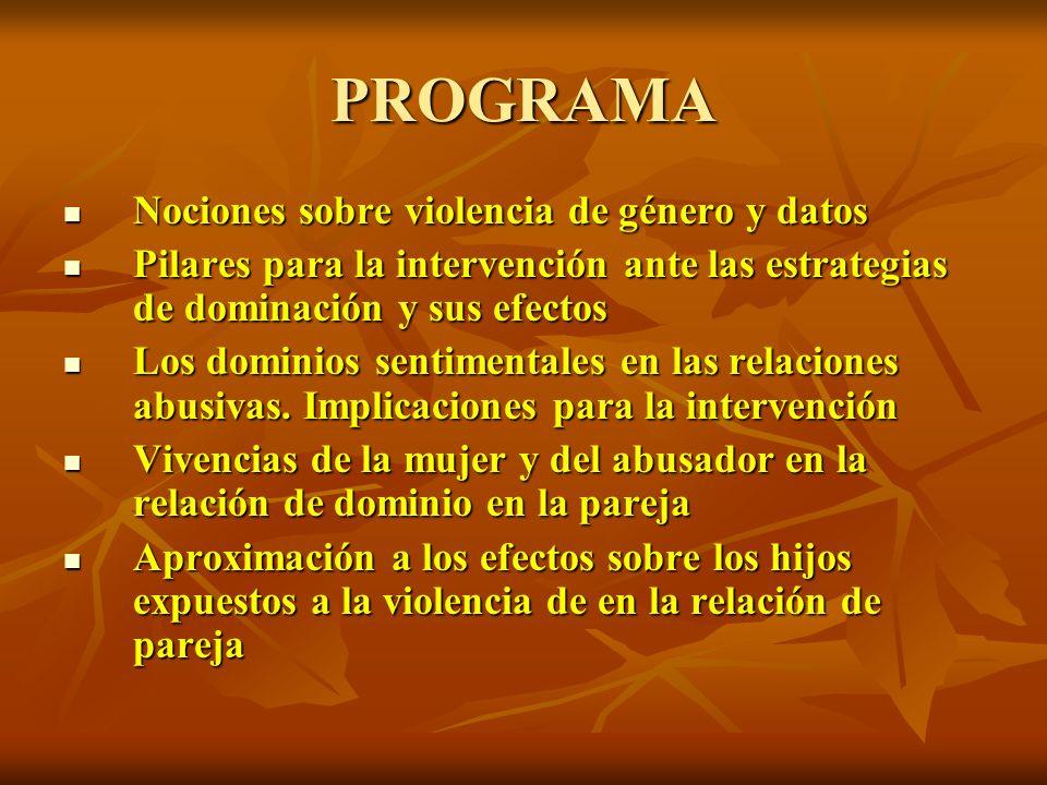 PROGRAMA Nociones sobre violencia de género y datos Nociones sobre violencia de género y datos Pilares para la intervención ante las estrategias de do