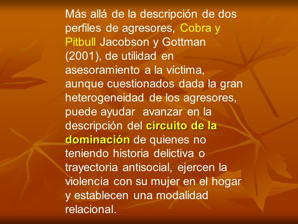 circuito de la dominación Más allá de la descripción de dos perfiles de agresores, Cobra y Pitbull Jacobson y Gottman (2001), de utilidad en asesorami