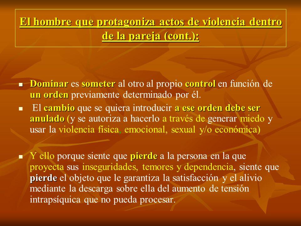El hombre que protagoniza actos de violencia dentro de la pareja (cont.): Dominarsometercontrol un orden Dominar es someter al otro al propio control