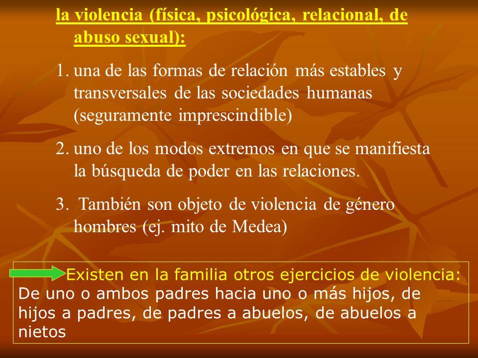 la violencia (física, psicológica, relacional, de abuso sexual): 1.una de las formas de relación más estables y transversales de las sociedades humana