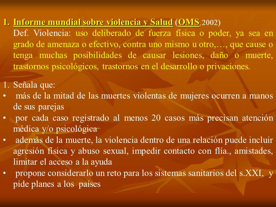 1.Informe mundial sobre violencia y SaludOMS 1.Informe mundial sobre violencia y Salud (OMS, 2002) Def. Violencia: uso deliberado de fuerza física o p