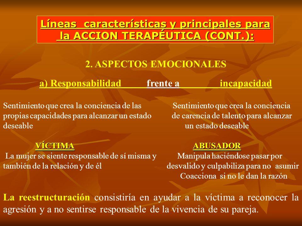 2. ASPECTOS EMOCIONALES a) Responsabilidad frente a incapacidad Sentimiento que crea la conciencia de las Sentimiento que crea la conciencia propias c