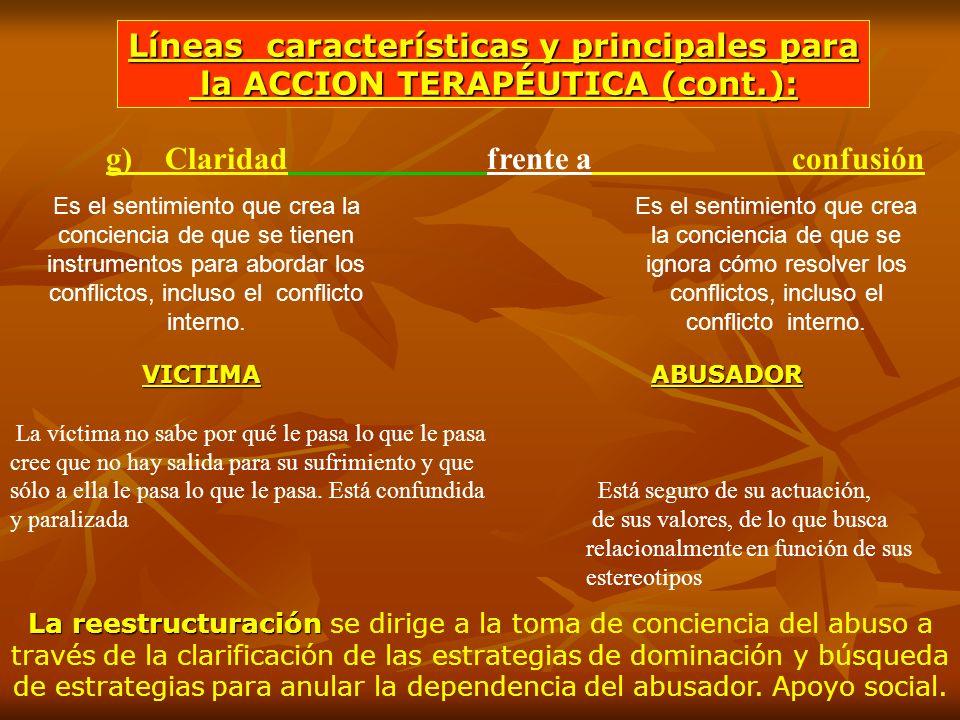 g) Claridad frente a confusión Es el sentimiento que crea la conciencia de que se ignora cómo resolver los conflictos, incluso el conflicto interno. E