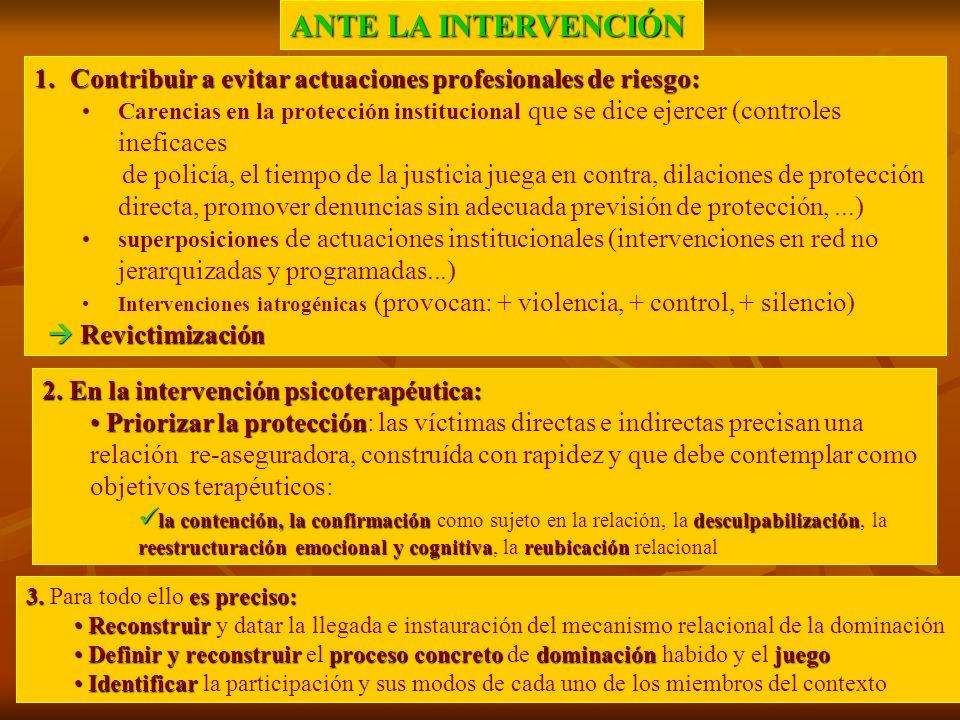 ANTE LA INTERVENCIÓN 1.Contribuir a evitar actuaciones profesionales de riesgo: Carencias en la protección institucional que se dice ejercer (controle