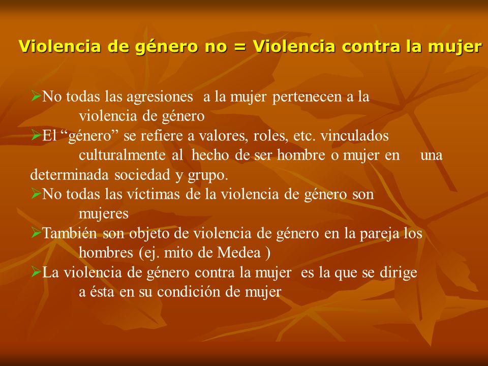 Violencia de género no = Violencia contra la mujer No todas las agresiones a la mujer pertenecen a la violencia de género El género se refiere a valor