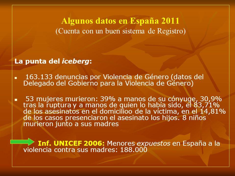 Algunos datos en España 2011 (Cuenta con un buen sistema de Registro) La punta del iceberg: 163.133 denuncias por Violencia de Género (datos del Deleg