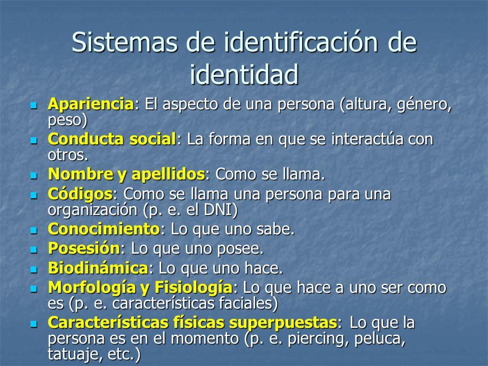 Sistemas de identificación de identidad Apariencia: El aspecto de una persona (altura, género, peso) Apariencia: El aspecto de una persona (altura, gé