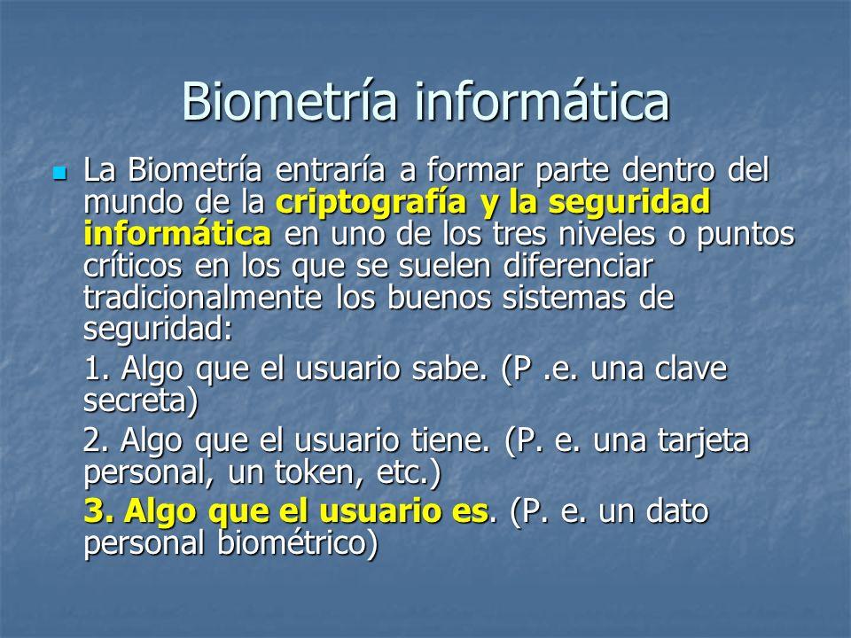 Biometría informática La Biometría entraría a formar parte dentro del mundo de la criptografía y la seguridad informática en uno de los tres niveles o