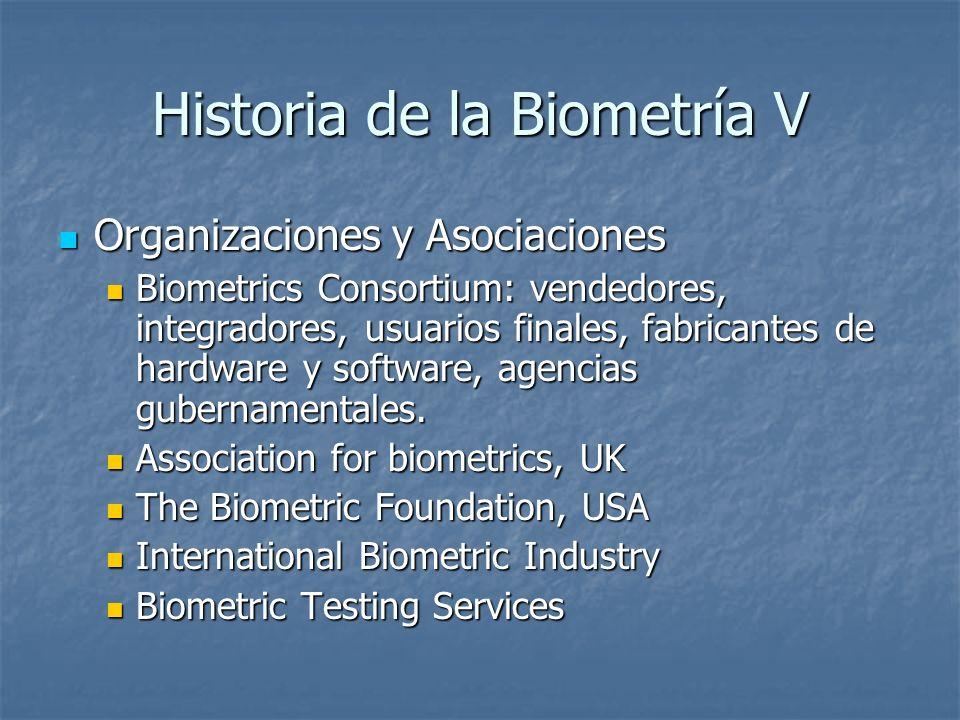 Historia de la Biometría V Organizaciones y Asociaciones Organizaciones y Asociaciones Biometrics Consortium: vendedores, integradores, usuarios final