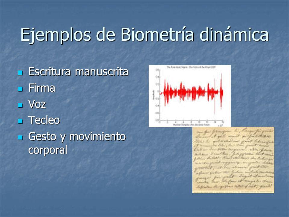 Ejemplos de Biometría dinámica Escritura manuscrita Escritura manuscrita Firma Firma Voz Voz Tecleo Tecleo Gesto y movimiento corporal Gesto y movimie