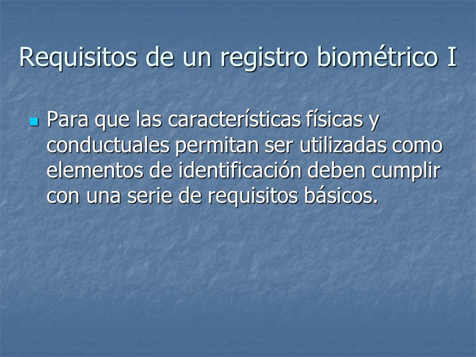 Requisitos de un registro biométrico I Para que las características físicas y conductuales permitan ser utilizadas como elementos de identificación de