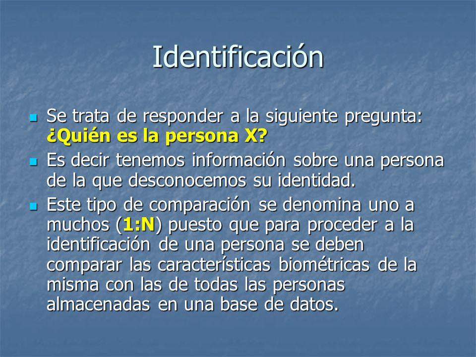 Identificación Se trata de responder a la siguiente pregunta: ¿Quién es la persona X? Se trata de responder a la siguiente pregunta: ¿Quién es la pers