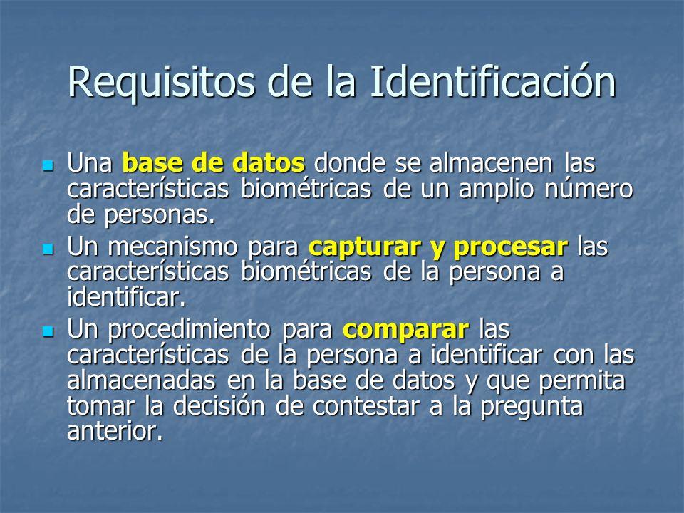 Requisitos de la Identificación Una base de datos donde se almacenen las características biométricas de un amplio número de personas. Una base de dato