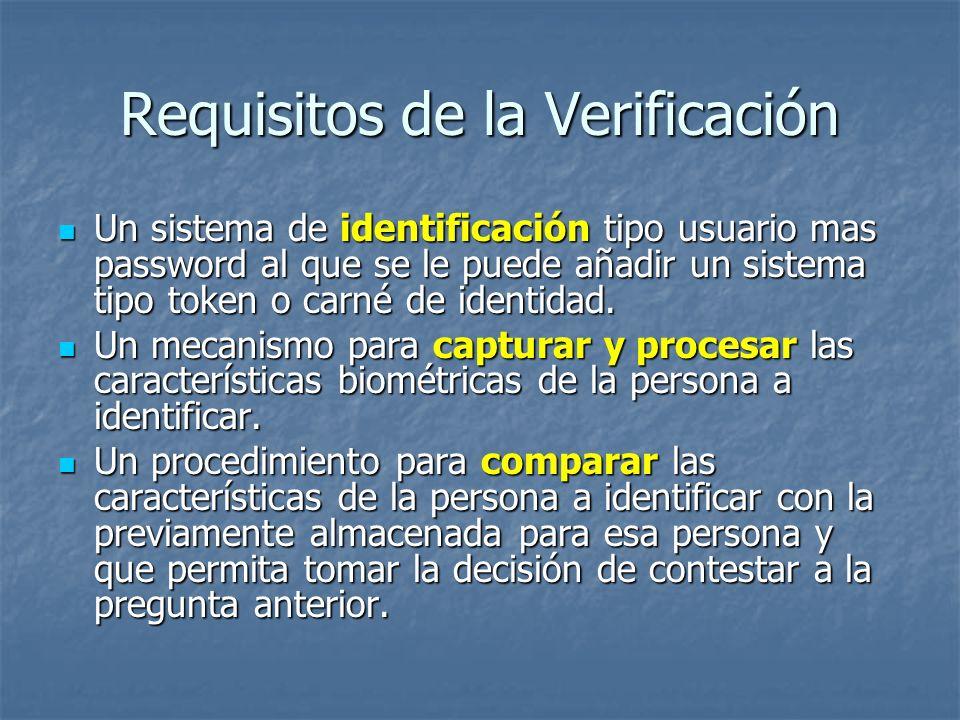 Requisitos de la Verificación Un sistema de identificación tipo usuario mas password al que se le puede añadir un sistema tipo token o carné de identi
