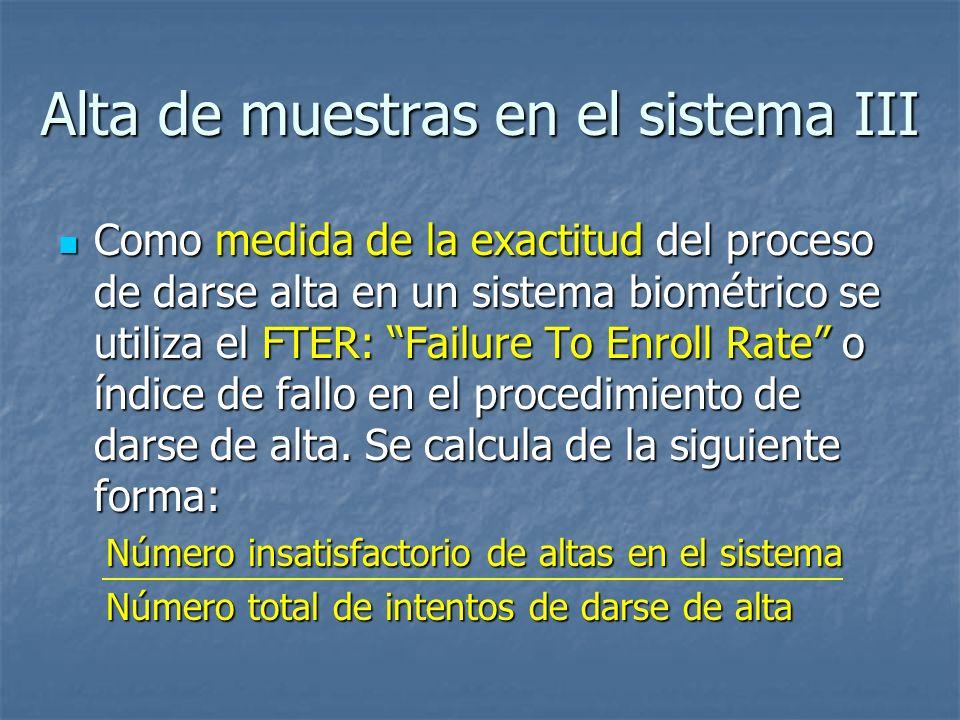 Alta de muestras en el sistema III Como medida de la exactitud del proceso de darse alta en un sistema biométrico se utiliza el FTER: Failure To Enrol