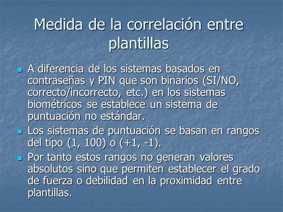 Medida de la correlación entre plantillas A diferencia de los sistemas basados en contraseñas y PIN que son binarios (SI/NO, correcto/incorrecto, etc.