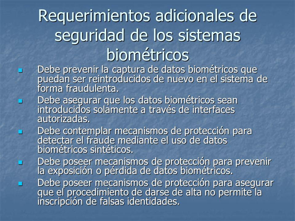 Requerimientos adicionales de seguridad de los sistemas biométricos Debe prevenir la captura de datos biométricos que puedan ser reintroducidos de nue