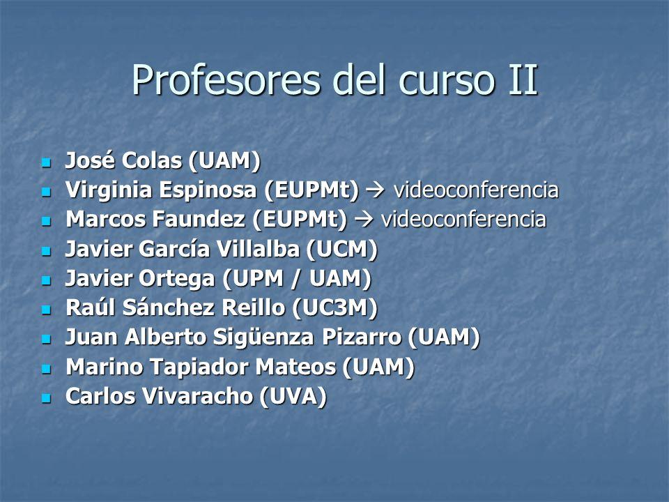 Profesores del curso II José Colas (UAM) José Colas (UAM) Virginia Espinosa (EUPMt) videoconferencia Virginia Espinosa (EUPMt) videoconferencia Marcos