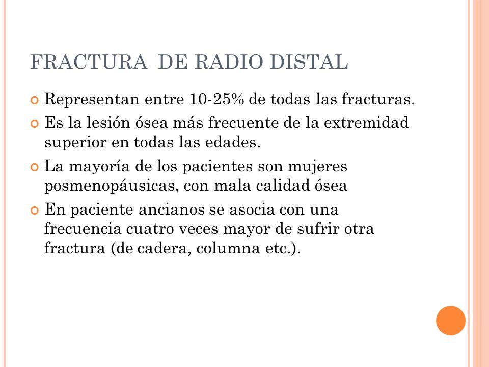 FRACTURA DE RADIO DISTAL Representan entre 10-25% de todas las fracturas. Es la lesión ósea más frecuente de la extremidad superior en todas las edade