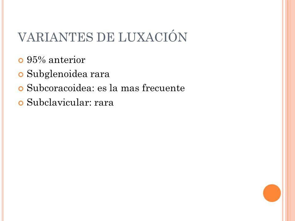 VARIANTES DE LUXACIÓN 95% anterior Subglenoidea rara Subcoracoidea: es la mas frecuente Subclavicular: rara