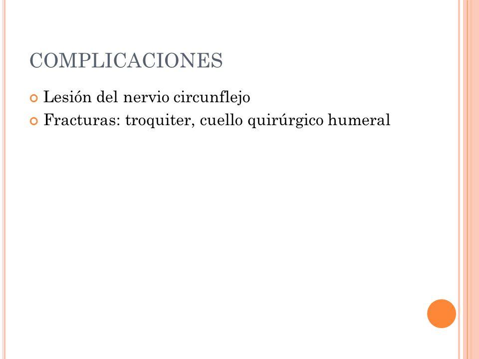 COMPLICACIONES Lesión del nervio circunflejo Fracturas: troquiter, cuello quirúrgico humeral