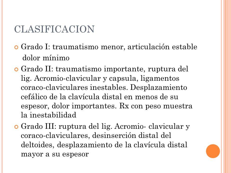 CLASIFICACION Grado I: traumatismo menor, articulación estable dolor mínimo Grado II: traumatismo importante, ruptura del lig. Acromio-clavicular y ca