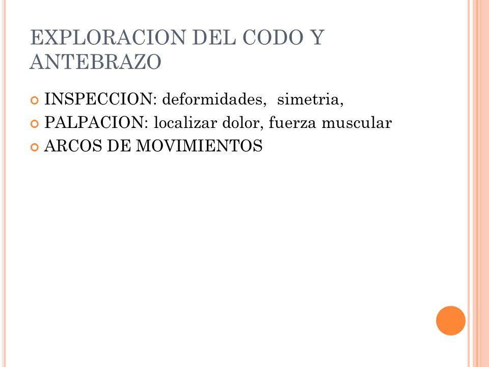 EXPLORACION DEL CODO Y ANTEBRAZO INSPECCION: deformidades, simetria, PALPACION: localizar dolor, fuerza muscular ARCOS DE MOVIMIENTOS