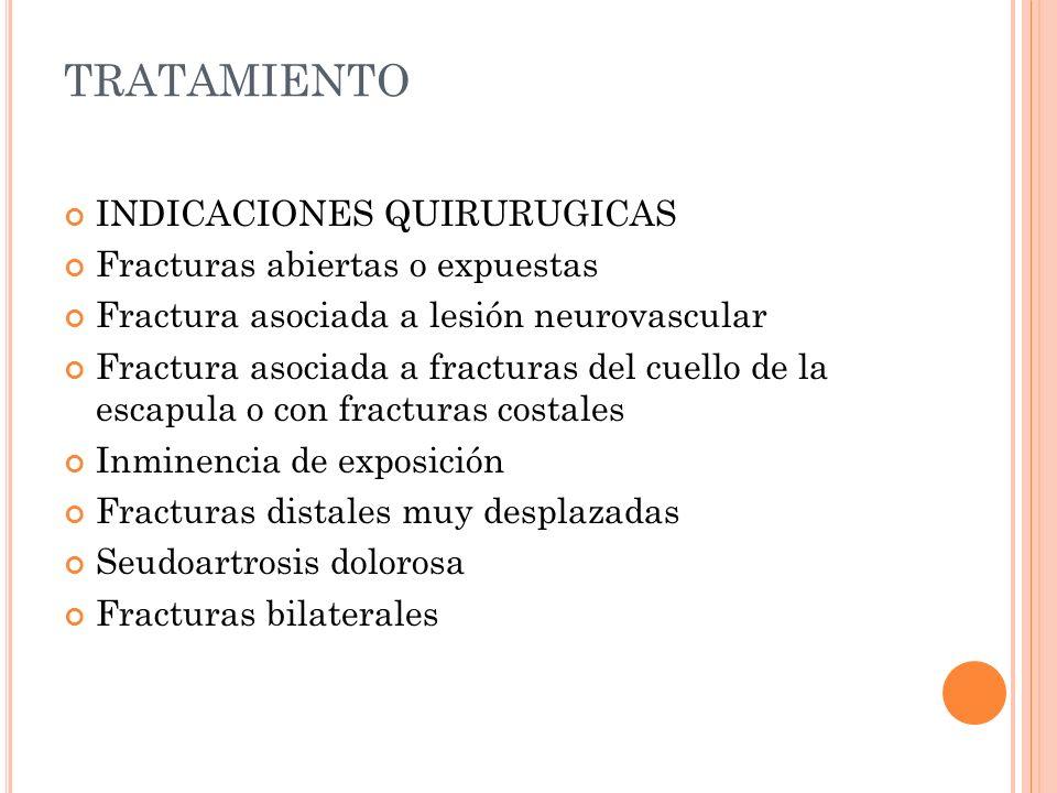TRATAMIENTO INDICACIONES QUIRURUGICAS Fracturas abiertas o expuestas Fractura asociada a lesión neurovascular Fractura asociada a fracturas del cuello